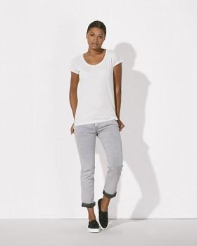 STELLA INVENTS Dámské oversized tričko s krátkými rukávy a velkým výstřihem ze 100% biobavlny - bílá
