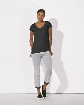 STELLA INVENTS Dámské oversized tričko s krátkými rukávy a velkým výstřihem ze 100% biobavlny - tmavě šedá antracit