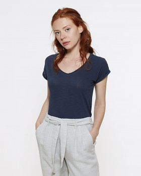 STELLA INVENTS Dámské oversized tričko s krátkými rukávy a velkým výstřihem ze 100% biobavlny - modrá french navy