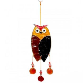 SMALL OWL fair trade závěsná vitrážová dekorace - hnědá