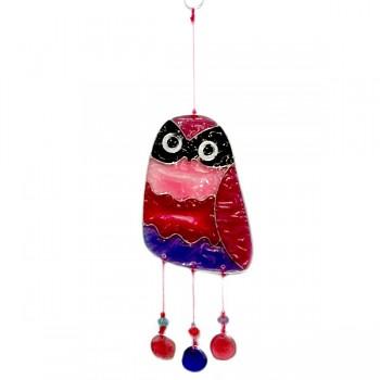 SMALL OWL fair trade závěsná vitrážová dekorace - červená