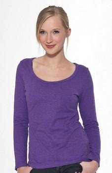 Hempline LANG dámské triko s dlouhými rukávy z konopí a biobavlny - fialová