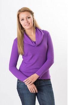 Hempline ROLLI dámské triko s dlouhými rukávy z konopí a biobavlny - fialová