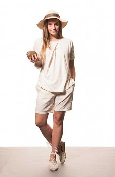 Hempline BOXY dámský top s krátkými rukávy - přírodní