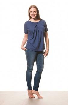 Hempline BOXY dámský top s krátkými rukávy - modrá