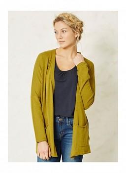 BRODERICK dámský svetr z biobavlny a vlny - žlutá lišejníková