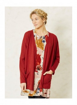 BRODERICK dámský svetr z biobavlny a vlny - červená rust