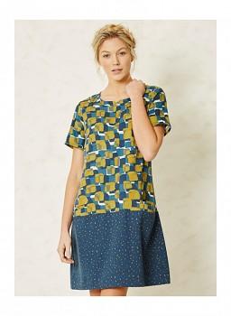 ALWINA dámské šaty s krátkými rukávy z tencelu a biobavlny