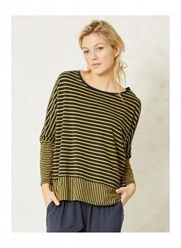 KARA dámské tričko s dlouhými rukávy ze 100% biobavlny - žlutozelená lišejníková