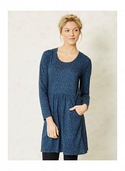 KITTELSEN dámské šaty s dlouhými rukávy ze 100% biobavlny - modrá