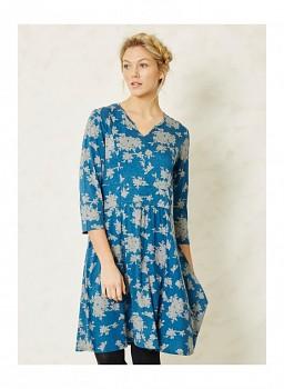 FEARNLY dámské šaty s 3/4 rukávy z bambusu a biobavlny - modrá