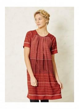 INGA RAE dámské šaty s krátkými rukávy ze 100% modalu - červená rust