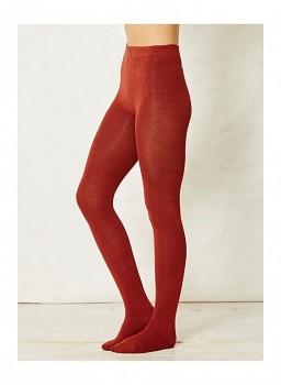 EDITH dámské punčocháče z bambusu a biobavlny - červená rust