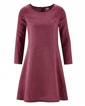 CLARICE Dámské šaty z konopí a biobavlny - červená tomato