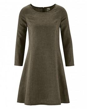 CLARICE Dámské šaty z konopí a biobavlny - tmavě hnedá tobacco