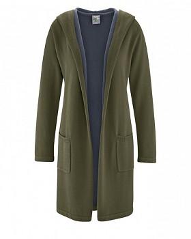 ENYA dámský pletený kabát z konopí a biobavlny - khaki wolf