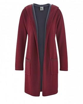 ENYA dámský pletený kabát z konopí a biobavlny - červenohnědá chestnut
