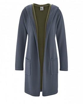 ENYA dámský pletený kabát z konopí a biobavlny - šedá grafit