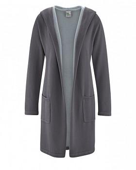 ENYA dámský pletený kabát z konopí a biobavlny - šedá antracit