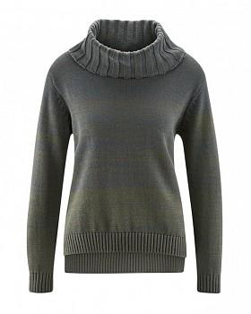 BIANCA dámský pletený svetr z konopí a biobavlny - šedá grafit
