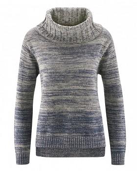 BIANCA dámský pletený svetr z konopí a biobavlny - šedohnědá mud