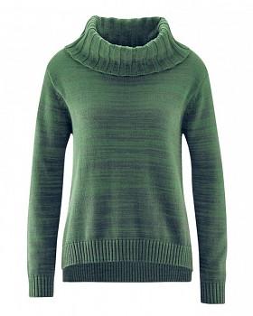 BIANCA dámský pletený svetr z konopí a biobavlny - zelená algae