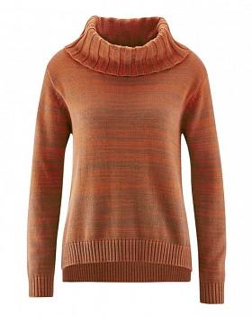 BIANCA dámský pletený svetr z konopí a biobavlny - oranžová fox