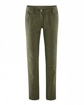 MAIKE dámské kalhoty z biobavlny a konopí - khaki wolf