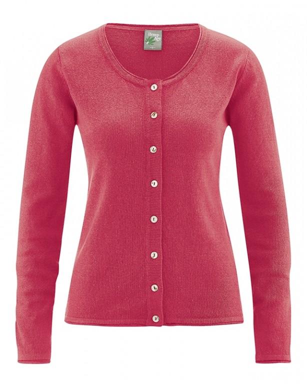 LOLA dámský pletený svetr z konopí a biobavlny - červená tomato ... 64f87d4b8a