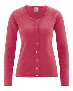 LOLA dámský pletený svetr z konopí a biobavlny - červená tomato