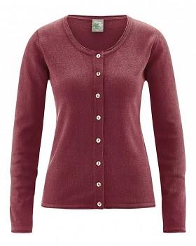 LOLA dámský pletený svetr z konopí a biobavlny - červenohnědá chestnut