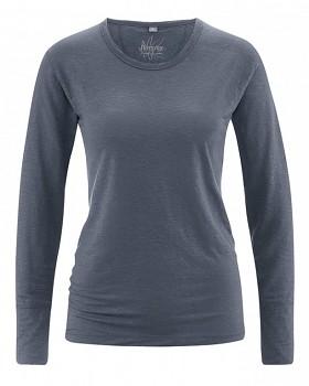 HANNAH dámské triko s dlouhým rukávem ze 100% konopí - tmavě šedá grafit