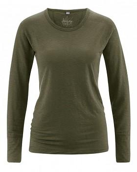 HANNAH dámské triko s dlouhým rukávem ze 100% konopí - khaki wolf