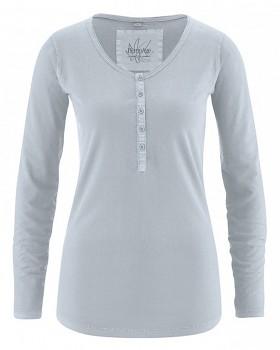 PAMELA dámské triko s dlouhým rukávem z konopí a biobavlny - světle šedá platinová