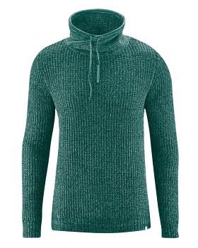 JOST pánský svetr z recyklovaného konopí a biobavlny - zelená spruce