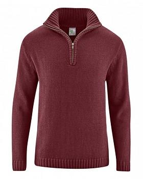 SNORRE pánský pletený svetr z konopí a biobavlny - červenohnědá chestnut