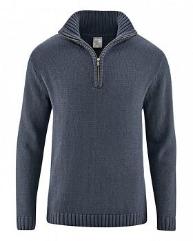 SNORRE pánský pletený svetr z konopí a biobavlny - tmavě šedá grafitová