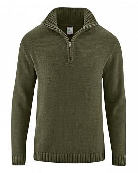 SNORRE pánský pletený svetr z konopí a biobavlny - khaki wolf