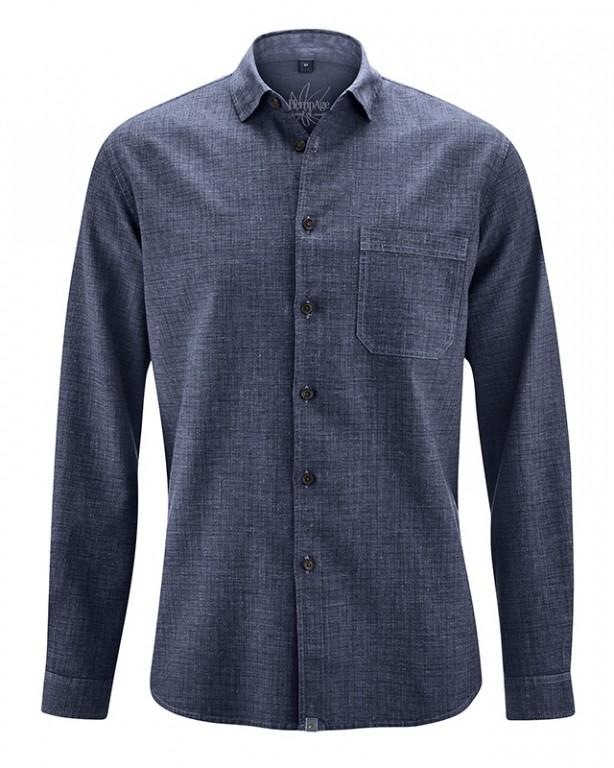 b814ca136e7 RAINER pánská košile z konopí a biobavlny - tmavě modrá wintersky ...