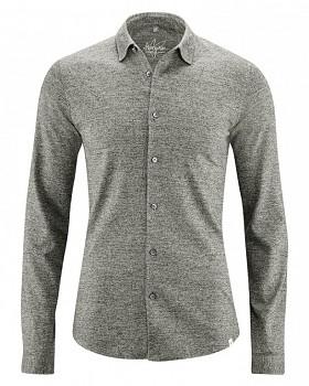 JONAH pánská úpletová košile z konopí a biobavlny - světle šedá melange