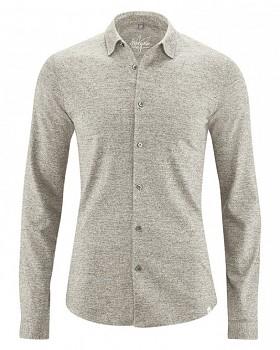 JONAH pánská úpletová košile z konopí a biobavlny - šedohnědá mud