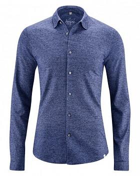 JONAH pánská úpletová košile z konopí a biobavlny - modrá chrpová