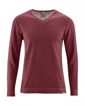 VITO pánský svetr s výstřihem do V z konopí a biobavlny - červenohnědá chestnut
