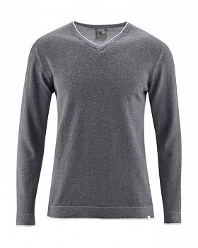 VITO pánský svetr s výstřihem do V z konopí a biobavlny - tmavě šedá antracit
