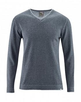 VITO pánský svetr s výstřihem do V z konopí a biobavlny - tmavě šedá grafit
