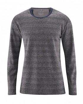 QUENTIN pánské pruhované triko s dlouhými rukávy z konopí a biobavlny - tmavě šedá antracit