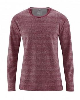 QUENTIN pánské pruhované triko s dlouhými rukávy z konopí a biobavlny - červenohnědá chestnut