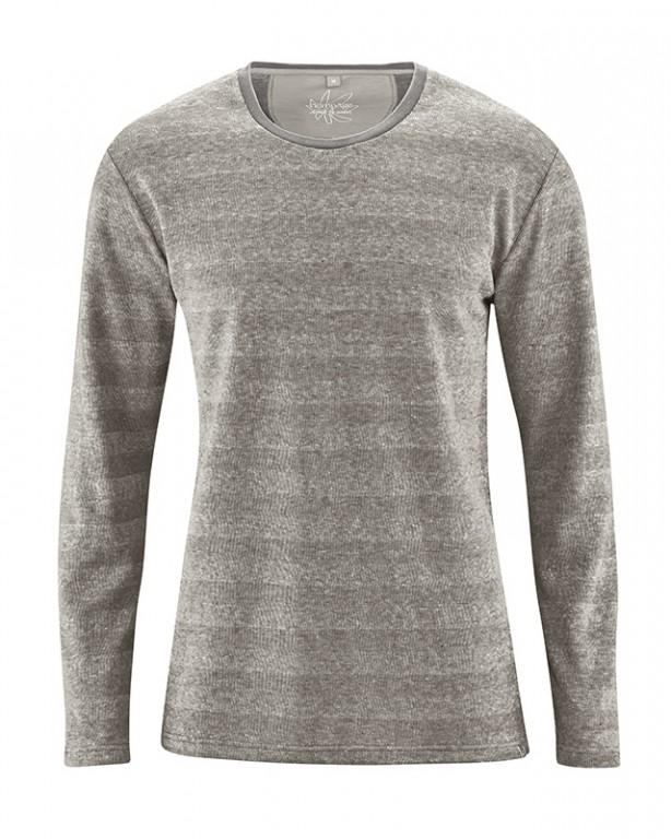 7989974bd8b QUENTIN pánské pruhované triko s dlouhými rukávy z konopí a biobavlny - světle  šedá melange