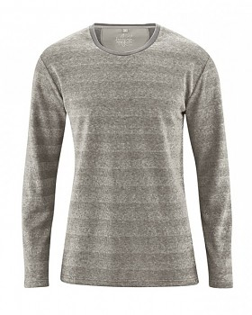 QUENTIN pánské pruhované triko s dlouhými rukávy z konopí a biobavlny - světle šedá melange