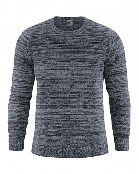 JONAS pánský pletený svetr z konopí a biobavlny - tmavě šedá grafit